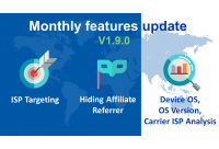 Monthly Features Update v1.9.0: ISP Targeting & Analysis, OS Analysis, Hiding Affiliate Referrer and Improvements