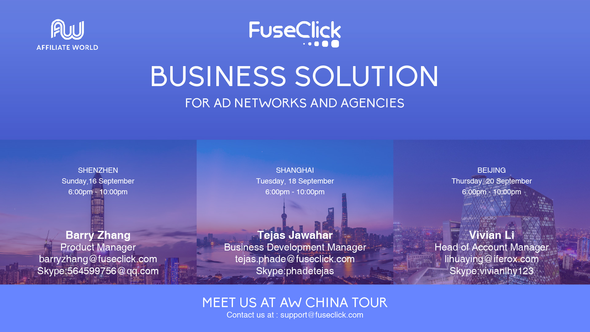 Meet us @AW China Tour